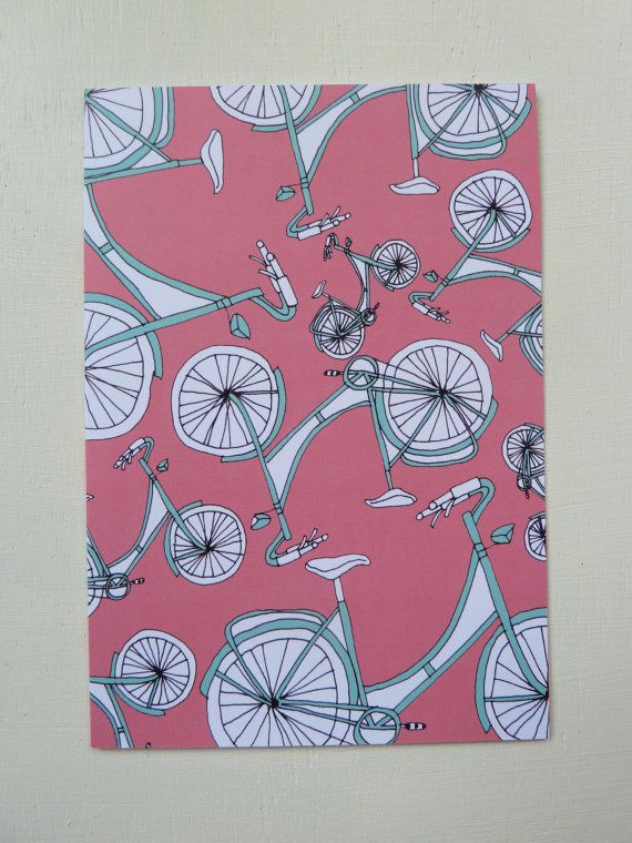 These Bicycle Pattern Cards are designed and illustrated by Rachel Ali Hawkins. The cards are blank inside which means these cards can be used for birthdays, thank you cards and many other occasions.  They measure approx 105mm x 148mm and come in a protective cellophane bag with a plain white envelope. Printed onto thick 350gsm, FSC credited paper stock.  If you wish to see more of my work please go to www.rachelalihawkins.co.uk