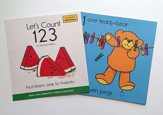 Shoes and socks, boats and seagulls, how many can you see? With playful illustrations of familiar objects and scenes, Let's Count 123 will delight the very young as they learn to count and identify numerals and words. Ten bold and easily interpreted pictures shows the numbers 1 to 20 and features a printing typeface with basic letter forms suitable for the early reader. This fun frieze will add colour to the walls and brighten the decor of the child's bedroom, playroom or classroom.  Put up…
