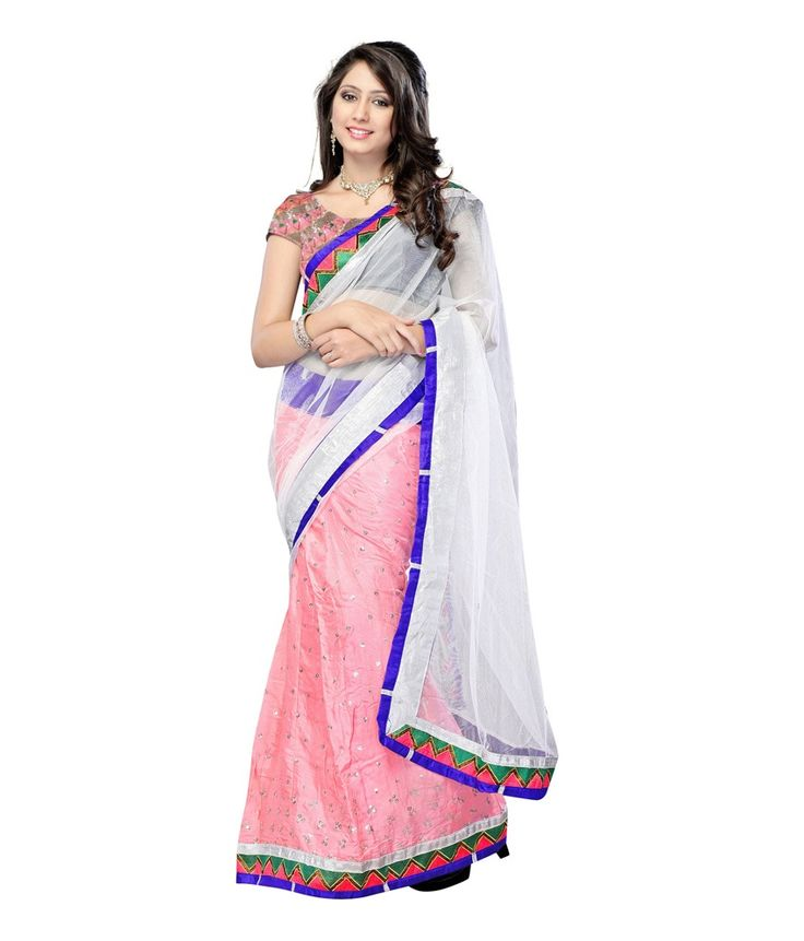 Light Pink Net Embroidered Saree With Blouse Piece  Brand: Fashiongroop Price : Rs. 2,599.00
