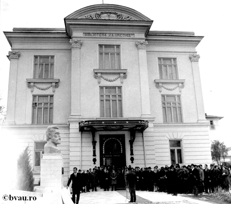 "Inaugurarea Bibliotecii ""V.A. Urechia"" în anul 1971, Galati, Romania, anul 1971, http://stone.bvau.ro:8282/greenstone/collect/fotograf/index/assoc/JInaugur.dir/Inaugurarea_BVAU.jpg.  Imagine din colecţiile Bibliotecii Judeţene ""V.A. Urechia"" Galaţi."