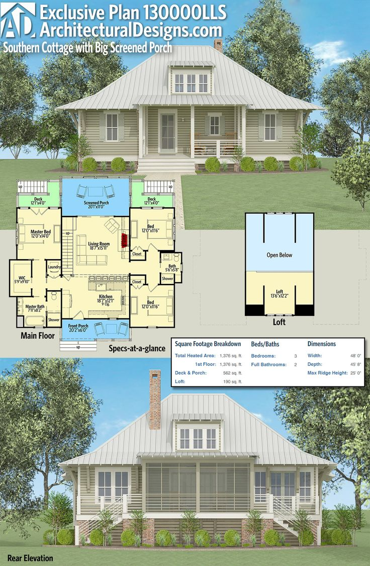 1273 best architectural designs editor s picks images on pinterest architectural designs exclusive southern cottage plan 130000lls has large front and rear porches inside