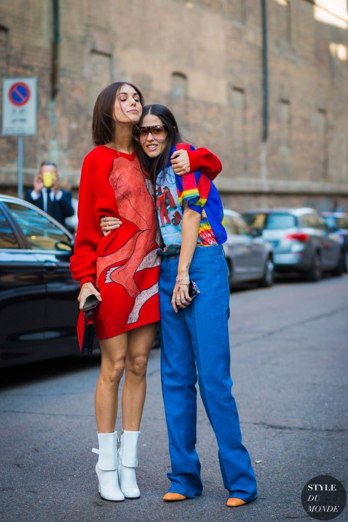 Diletta Bonaiuti and Gilda Ambrosio Street Style Street Fashion Streetsnaps by STYLEDUMONDE Street Style Fashion Photography