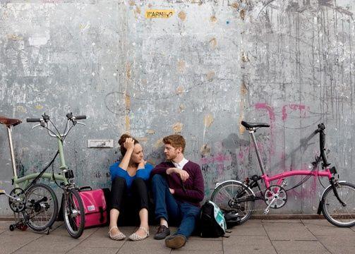 Vélo pliant Brompton, en couple aussi c'est stylish, n'est ce pas ?