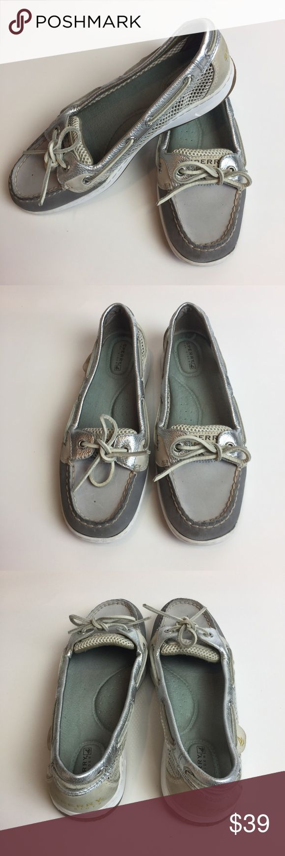 •• Sperry Top Sider Angelfish Metallic Boat Shoes Women's size 7.5 designer boat shoes. Minor wear see pictures overall in good condition. Only have been worn a handful of times. These shoes go with EVERYTHING! (LLR3-179)  Material: Leather Color: Gray & Metallic Silver Sperry Top-Sider Shoes Flats & Loafers