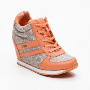 Sneakers Ginevra gris et orange talon : 7 cm, tige : 8 cm
