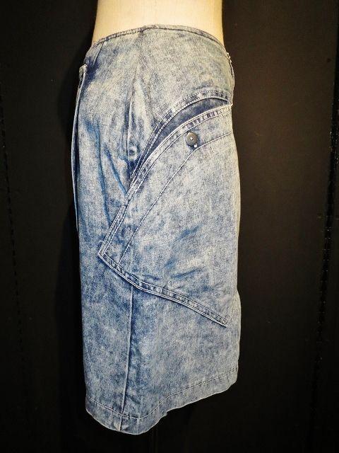 chemical wash design denim skirt / ケミカルウォッシュ まだら 柄 プリント デザイン デニム スカート 26インチ アシンメトリー ラップ 巻き ジーンズ カジュアル シンプル 大人 古着 通販 USED アメリカ ヴィンテージ レディース