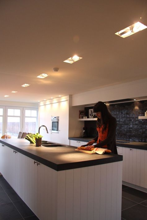 Mi Casa - thick charcoal countertop - ivory plank cabinets - floating shelves and tiles?