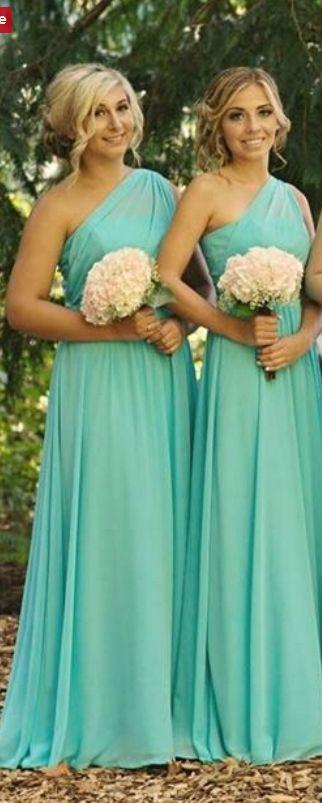 Elegant Chiffon One Shoulder A Line Floor Length Long Mint Green Bridesmaid Dress