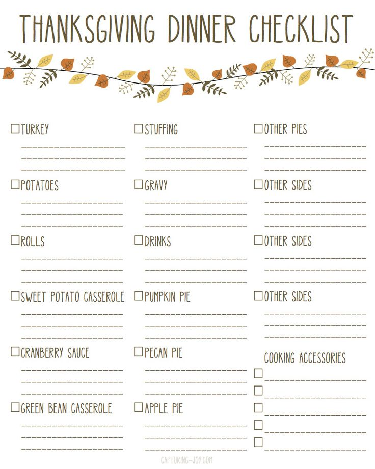 Thanksgiving Dinner Checklist Printable! Make Thanksgiving dinner easy with this list! Capturing-Joy.com