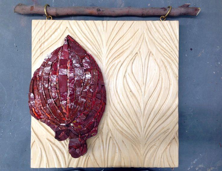 Leaf - mosaic by IlariaDelSignore // Smalti&inlaid wood //40*50cm