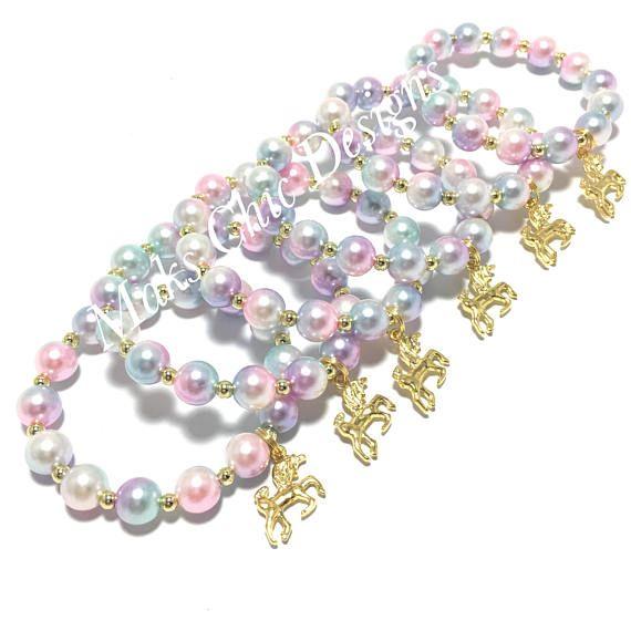 6 unicorno favore di partito piccole perline - ragazze rosa, porpora, blu, oro bracciali - Unicorn Goodie Bag regali - Unicorn pastello