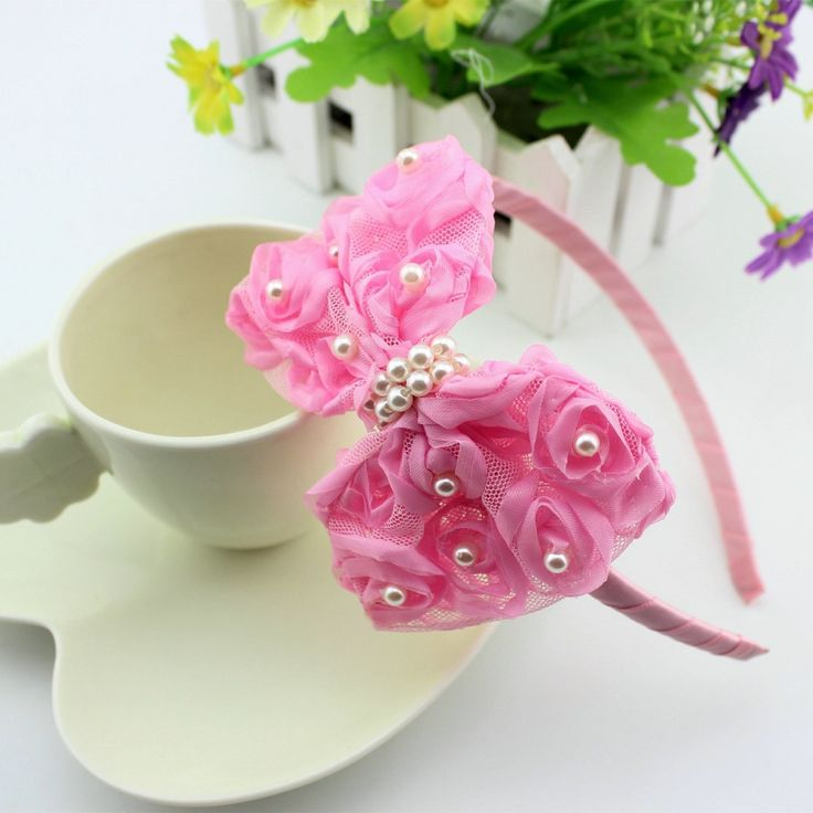1 pieces baby Girls Flower Headbands Baby Pink hair Lace Bow Hair lace bow band children girl Hair Accessories