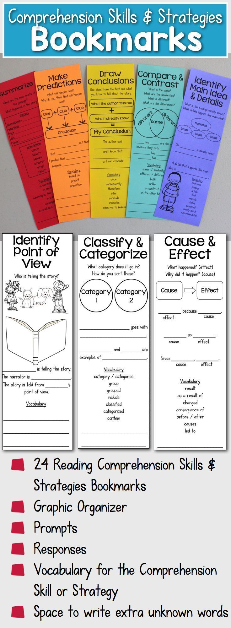 Comprehension Skills & Strategies Bookmarks that help students monitor their comprehension and use academic language to ask and answer questions about the text.  The bookmarks include graphics organizers and vocabulary in addition to sentence frames for both prompts and responses  Perfect for English learners.