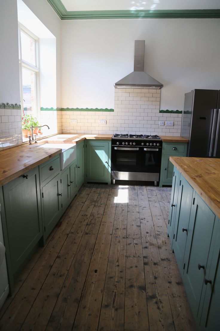 Bespoke, Solid Wood Kitchen Finished In Farrow U0026 Ball U0027Breakfast Room  Greenu0027 With