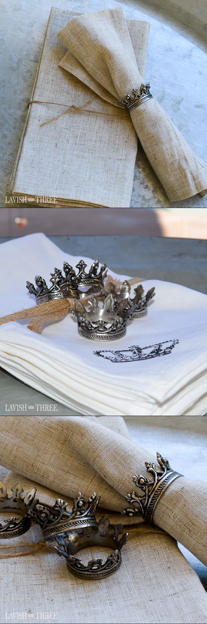 Majestic crown napkin rings.  Reproductions of antique pieces, they are hand-made by artisans using old world techniques. Explore our entire collection of home decor, gifts and jewelry to lavish your heart, your soul and your home!
