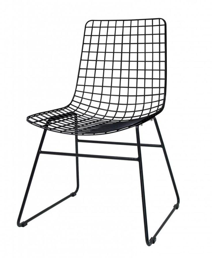 Zwart ijzeren draadstoel met of zonder comfort kit. Deze eetkamerstoel is van HK Living.