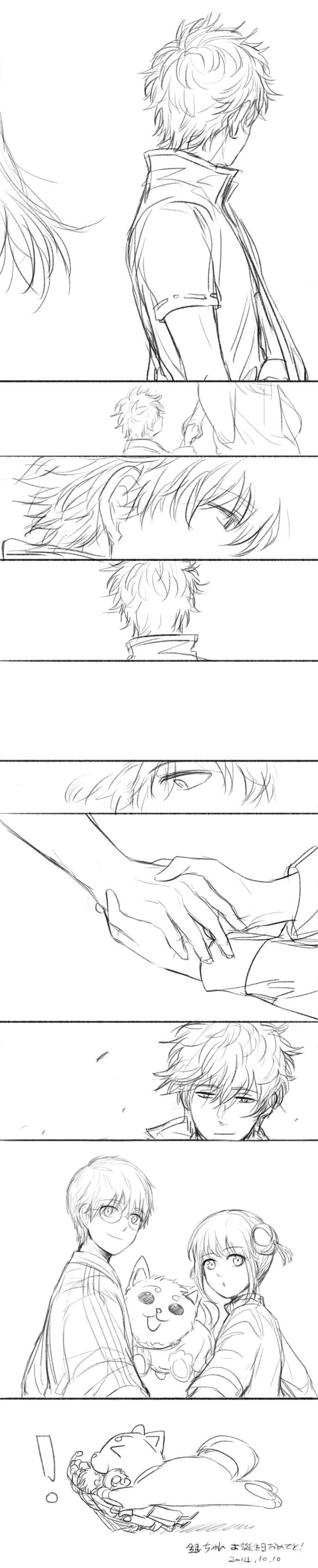 Anime: Gintama Personagens: Sakata Gintoki, Shimura Shinpachi, Kagura e Sadaharu