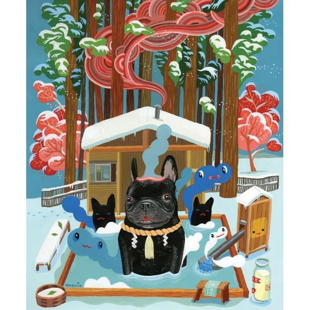 Haha~Japan Auction, Artists, Frenchie Art, French Bulldogs, Frenchie Loaded, Behance, Bulldogs Onsen, Aaron Meshon, Meshon Illustration