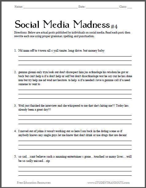 social media madness worksheet 4 fourth free printable. Black Bedroom Furniture Sets. Home Design Ideas