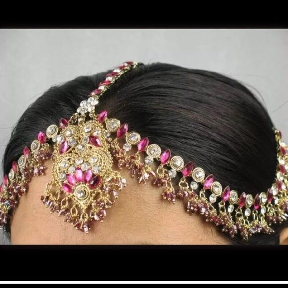 New Indian headpiece Gold plated, Indian headpiece (pink). Jewelry