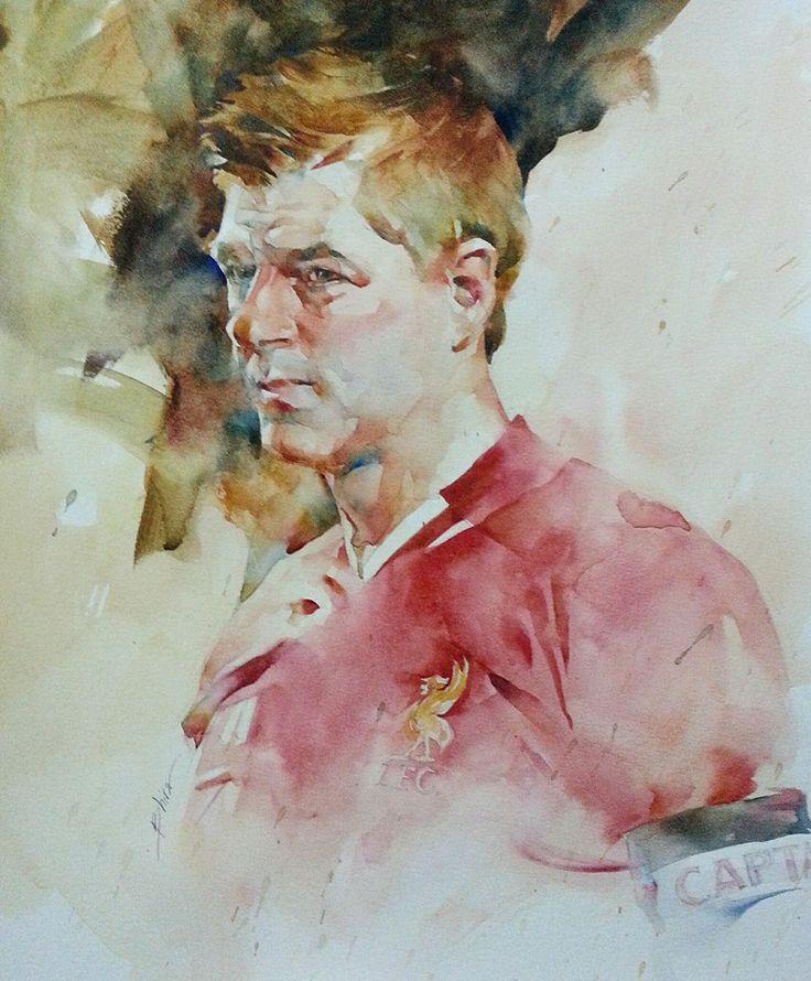 painting portrait - Steven Gerrad Liverpool