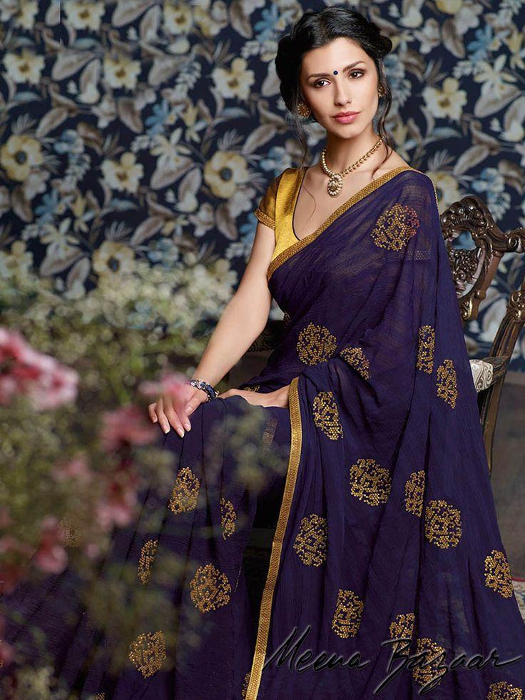 Meena Bazaar Products :: Annual Sale 2015 :: Blue Chiffon Saree