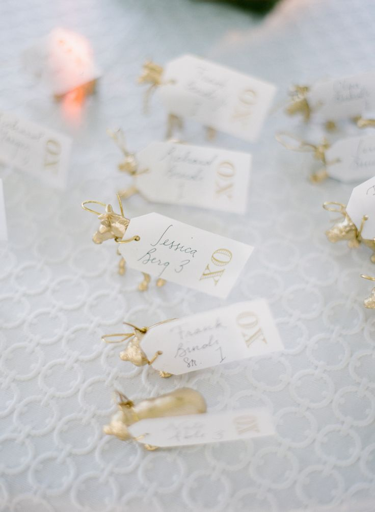 gilded animal seating cards Photography: Lauren Kinsey Fine Art Wedding Photography - laurenkinsey.com  Read More: http://stylemepretty.com/2013/10/09/rosemary-beach-wedding-from-lauren-kinsey-2/