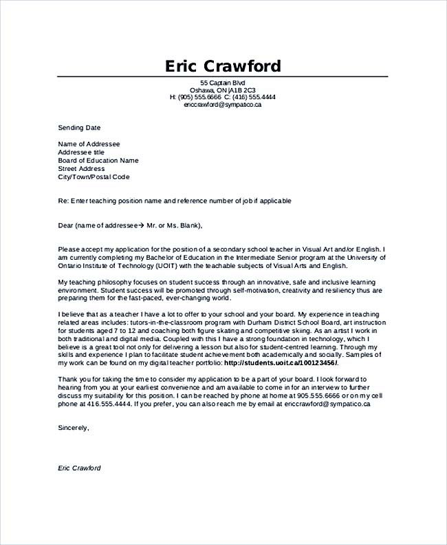 Teaching Cover Letter Examples For Successful Job Application