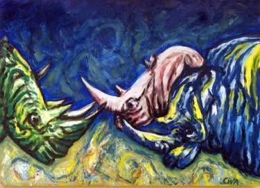 "Saatchi Art Artist Dan Civa; Painting, ""Rhinoceros (2016 no. 11.)"" #art"