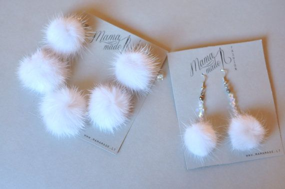 Set of white mink fur earrings and bracelet by FurFashionLt