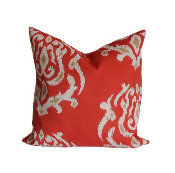 Outdoor Pillow, 18x18, Outdoor Pillow Cover, Decorative Pillow, Ikat Pillow,  Outdoor Cushion, Coral Pillow, Cheap Pillow