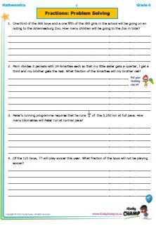 Worksheets - Grade 4 - Mathematics : Grade 4 Mathematics: Fractions Problem Solving