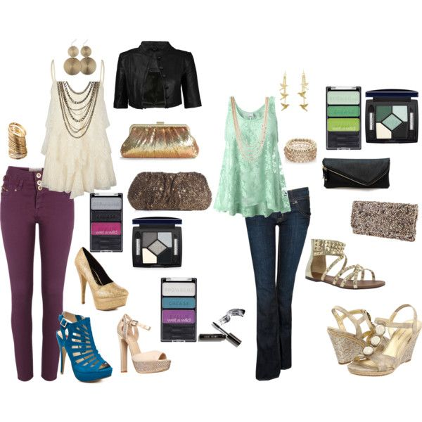 Semi-Casual Chic-- I made everything in these looks interchangeable, so you can create multiple outfits. From the pants and tops, to the makeup and all the accessories, it all works together! So whether you're going shopping with the girls, or doing a flirtatious evening out with your guy, these items can be made into the perfect outfit for any occasion! created by jtfashionpins on Polyvore