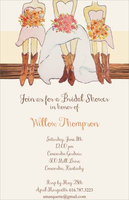 Boots and Bridesmaids Shower Invitations