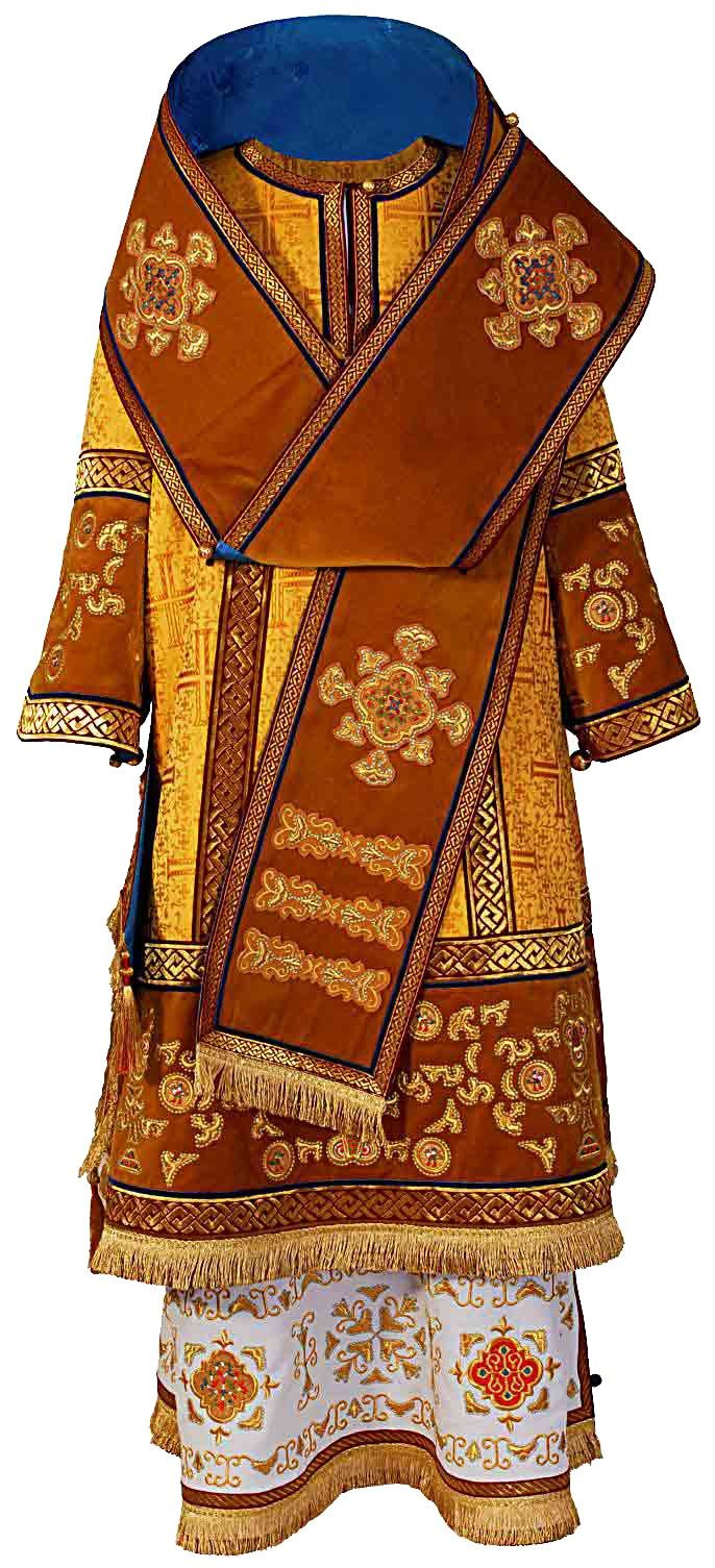 Bishop Vestment with Embroidered Crosses. Visit our website: http://catalog.obitel-minsk.com/arhierejskoe-oblchenie-1.html#!prettyPhoto Fabric: brocade, velvet, rayon lining. This set includes 7 items: sakkos, epitrachelion, cuffs (epimanikia), belt (zone), small omophorion, large omophorion, epigonation (palitsa).. #Orthodox #Orthodoxy #Bishop #Vestments #Russian-Style #Church #Handmade