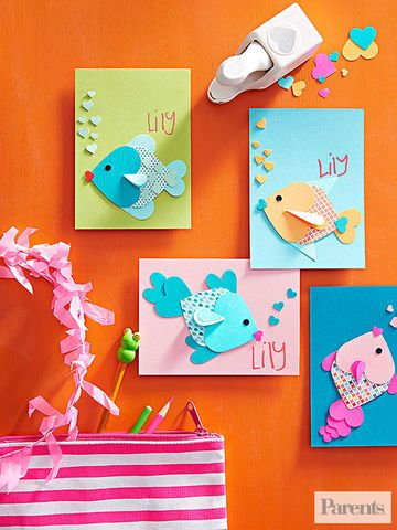 Use various sizes of heart punches (or cut out the shapes by hand), then assembl...