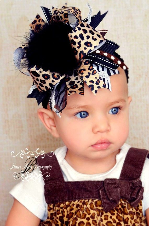 Over the Top Leopard Print Hair Bow With a by BergsBeautifulBows01, $16.50
