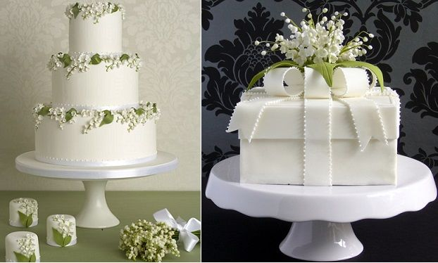 lily of the valley cakes by Peggy Porschen left and Pamela McCaffrey Made With Love Cakes right