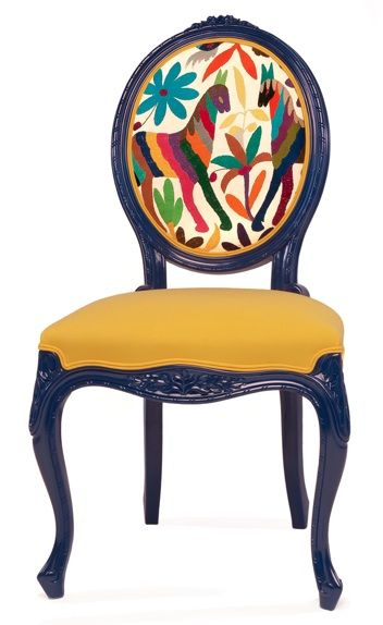 French Provençale side chair with primitive print back. Interesting combination!