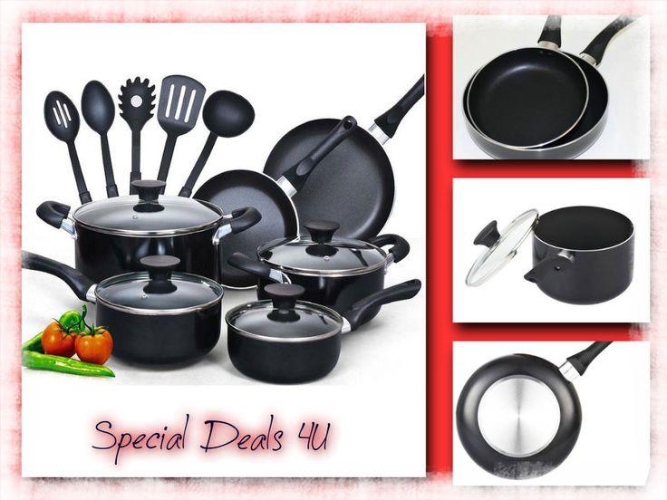 Cookware Set Non Stick Kitchen 15 Piece Pots Pans Kitchenware Cooking Black New #NonStickCeramic