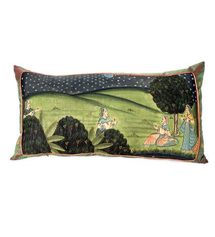 Beautiful textiles from IBU: Radha and her Maids:   Pichvai Pillow
