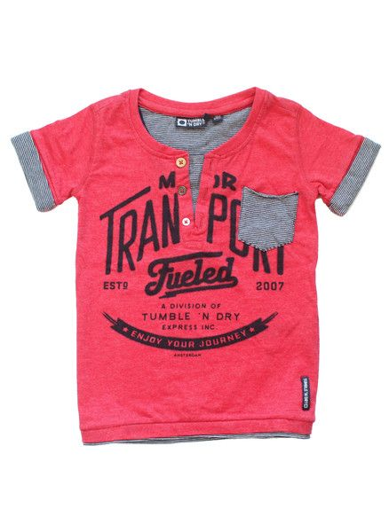 This tee is only your very cool boy! The T-shirt has a fake layer which is visible near the collar, the sleeves, chest pocket and the bottom. There is also a special detailing in the different buttons