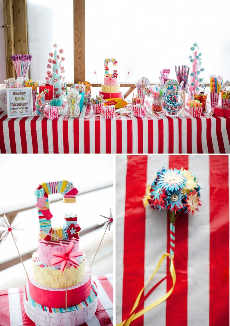 Our Friends recently had a Carnival themed wedding... I loooovvedd the Candy Display / Wedding Favors!