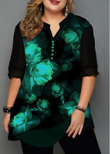Plus Size Split Neck Button Detail Printed Blouse on sale only US$30.00 now, buy…