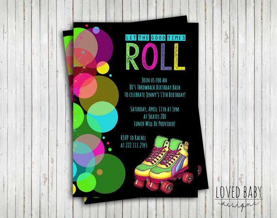 Skate Party Invitation, 80's Party Invitation, Let the Good Times Roll - DIY, Printable, 1980's, Roller Skates