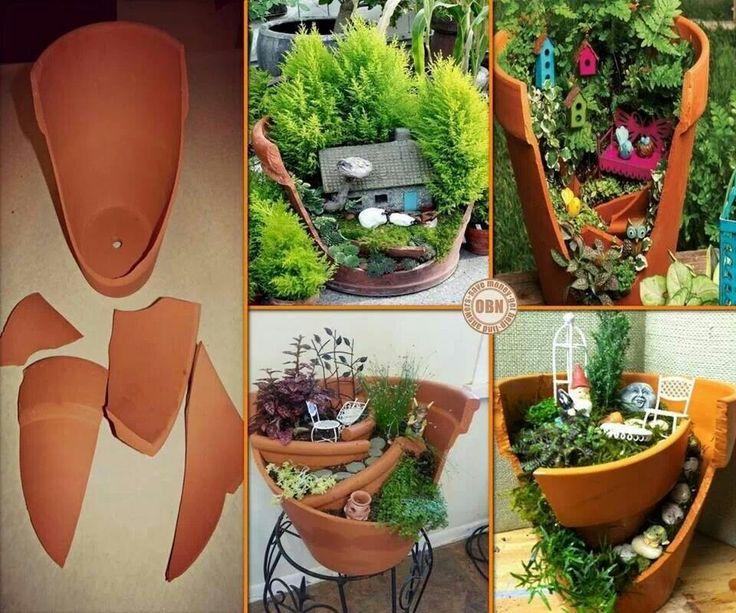 Reuse broken pots to create a fairly garden for kids