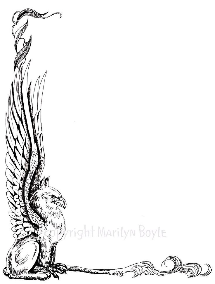SOLD ONE - DIGITAL BORDER - GRYPHON; fantasy, digital download, fatasy beast, pen and ink…