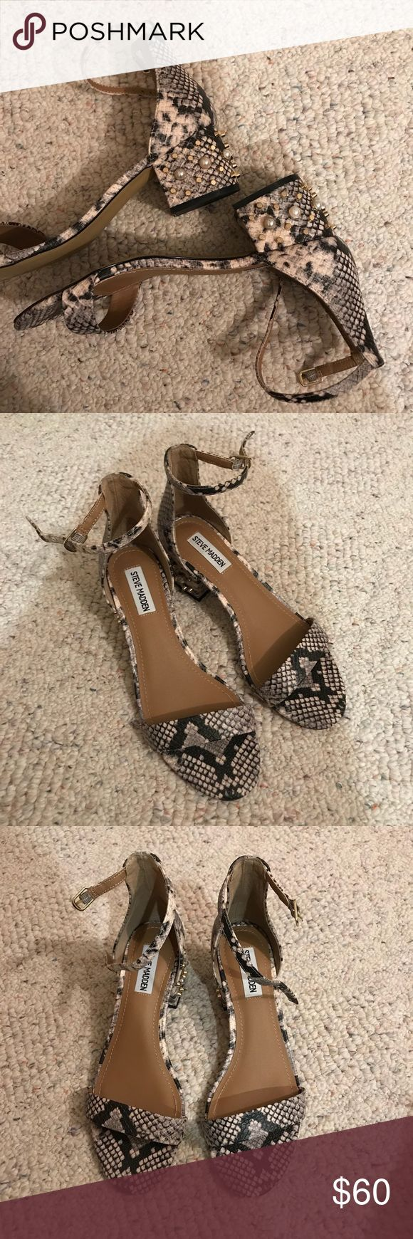 Snake Skin Pearl Studded Heels Brand new, only tired on. Selling because unfortunately these are too big on me and I️ can't wear them without being uncomfortable. The heel is about 1 inch. Firm on this price, thank you :) Steve Madden Shoes Heels