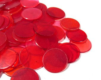 Bingo Chips VINTAGE BINGO Chips All Red One Hundred by punksrus