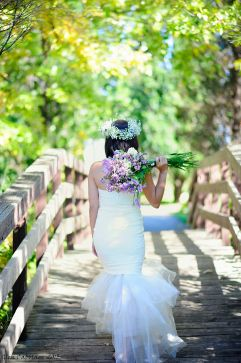 A walk by the bridge. Photography by Glen Cabotage from a styled shoot designed by Dream Bloom with lavander theme